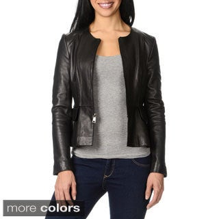 Bebe Women's Leather Peplum Jacket