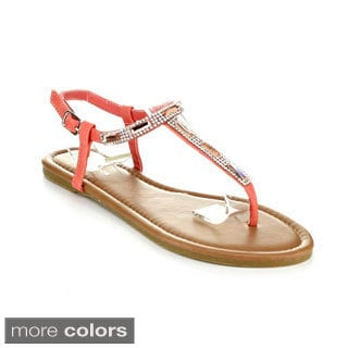 Top Moda Women's 'AI-16' Rhinestone T-strap Casual Sandals