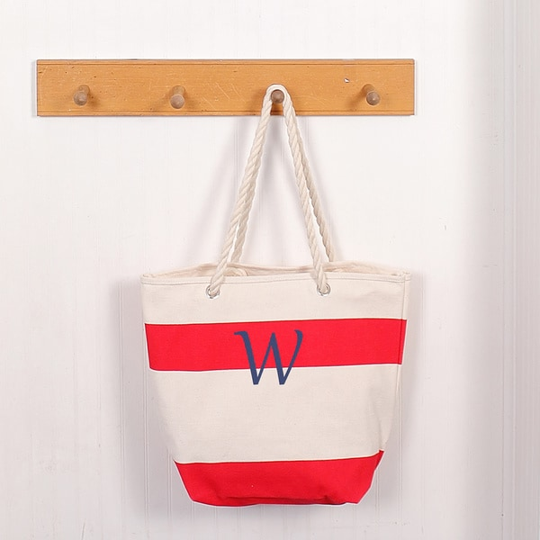 Personalized Red Striped Canvas Tote with Rope Handles