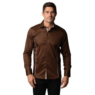 Men's Slim fit Brown Button-front Elbow Patch Shirt