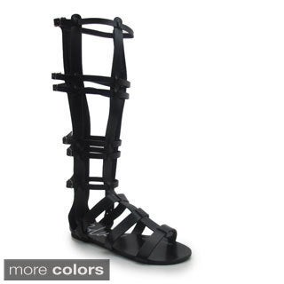 Blue Women's 'G Tall' Strappy Mid-calf Gladiator Sandals