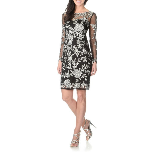 Patra Women's Long Sleeve Sequin Embellished Dress