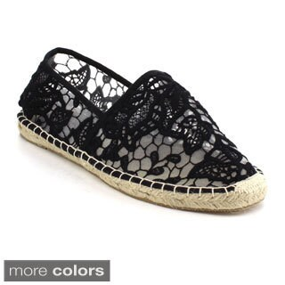 Refresh Women's 'Palace-1' Floral Lace Espadrille Slip-ons