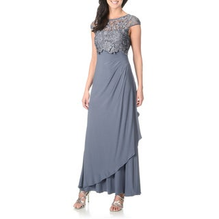 Patra Women's Lace Pop-Over Jersey Knit Evening Gown