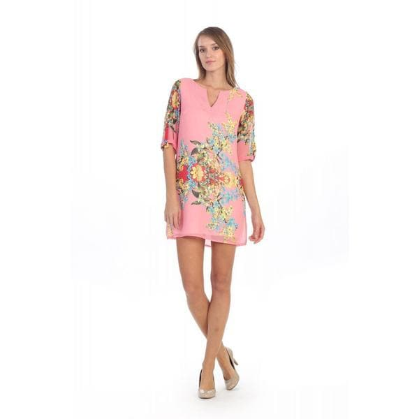 Hadari Floral Notch Neck Dress