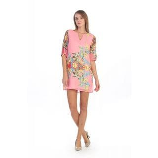 Hadari Floral Notch Neck Dress