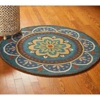 LNR Home Dazzle Blue Geometric Round Area Rug (6' Round)