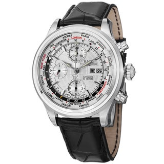 Ball Men's CM2052D-LJ-SL 'Trainmaster World time' Silver Dial Black Leather Strap Watch