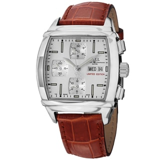 Ball Men's CM1068-LJ-WH 'Conductor Chronograph' Silver Dial Brown Leather Strap Limited Edition Watch