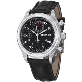 Ball Men's CM1030D-L1J-BK 'Trainmaster Racer' Black Dial Black Leather Strap Watch