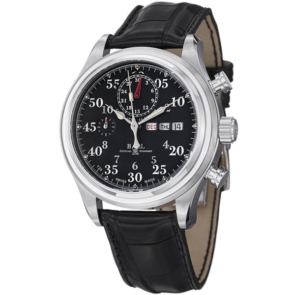 Ball Men's CM1030D-L1J-BK 'Trainmaster Racer' Black Dial Black Leather Strap Watch