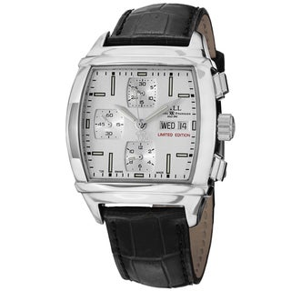 Ball Men's CM1068-LJ-WH 'Conductor Chronograph' Silver Dial Black Leather Strap Limited Edition Watch