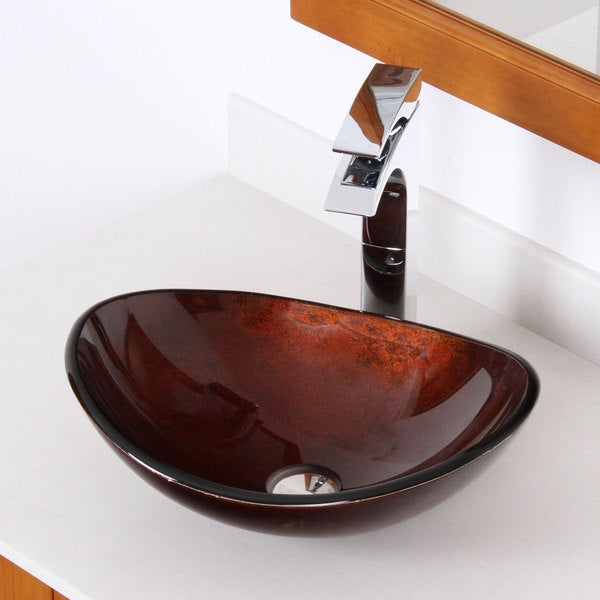 Elite 1411 Unique Oval Artistic Bronze Tempered Glass