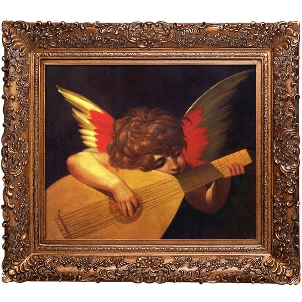 Rosso Fiorentino 'Musical Angel' Hand Painted Framed Canvas Art