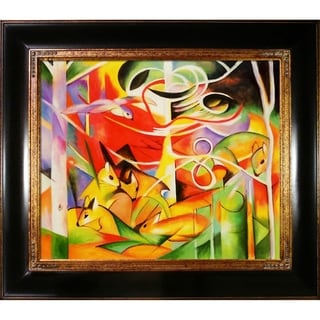 Franz Marc 'Deer in the Forest' Hand Painted Framed Canvas Art