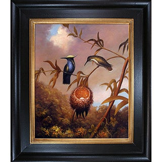 Martin Johnson Heade 'Black-Breasted Plovercrest' Hand Painted Framed Canvas Art