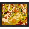 Paul-Elie Ranson 'Nude Laying on Her Back in a Clearing' Hand Painted Framed Canvas Art