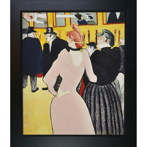 Henri de Toulouse-Lautrec 'At the Moulin Rouge, La Goulue with Her Sister' Hand Painted Framed Canvas Art