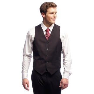 Dockers Mens's Black Striped 5-button Suit Separates Vest