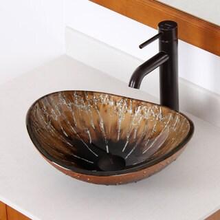 ELITE 1415 Unique Oval Artistic Bronze Tempered Glass Bathroom Vessel Sink