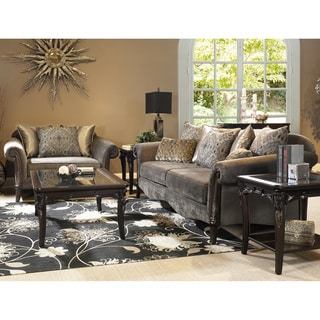 Lila Traditional Roll-arm 2-piece Sofa Set with Accent Pillows