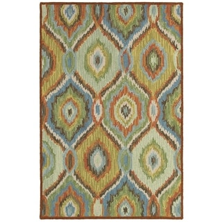 LNR Home Dazzle Green/ Multi Geometric Area Rug (8' x 10')