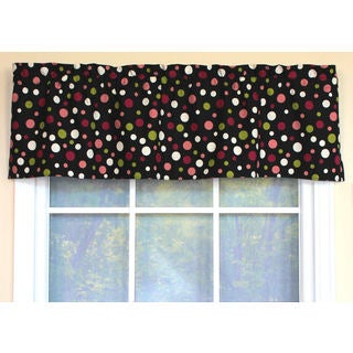 RLF Home Black Spiro Dot Straight Window Valance