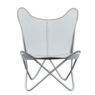 White Leather Butterfly Chair