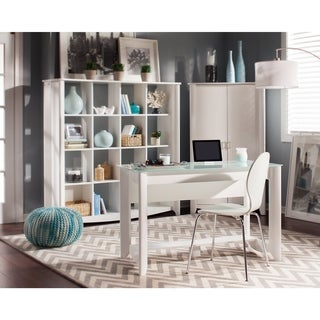 Aero Writing Desk and 16-cube Bookcase/Room Divider Set