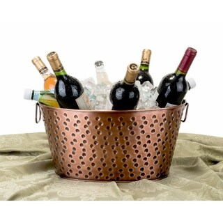 Oval Antique Hammered Copper 4-gallon Party Tub