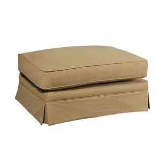 Elsa 100-percent Cotton Tan Upholstered Ottoman
