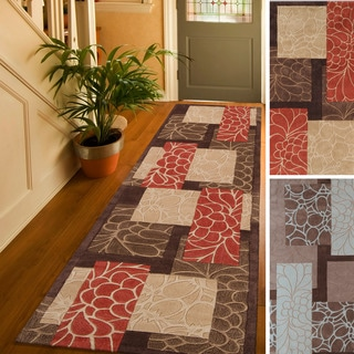 Hand-tufted Floral Contemporary Red/ Blue Runner Rug (2'6 x 8')