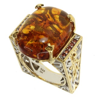Michael Valitutti Two-tone Amber and Orange Sapphire Ring