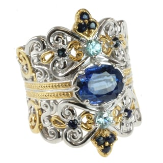 Michael Valitutti Two-tone Kyanite, Blue Zircon and Blue Sapphire Ring