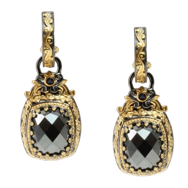 Michael Valitutti Two-tone Hematite and Blue Sapphire Earrings
