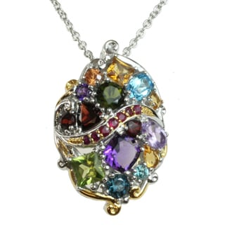 Michael Valitutti Two-tone Multi-gemstone and Ruby Necklace