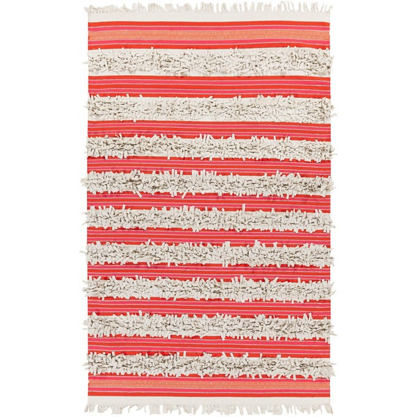 Papilio Pepper Hand-woven Feather Stripes Area Rug (5' x 8')