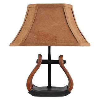 Stirrup Accent Lamp with Suede Shade