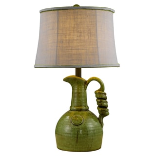 1-Light Green Vessel Table Lamp