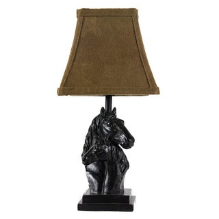 Somette 1-light 10-inch Black Horse Table Lamp