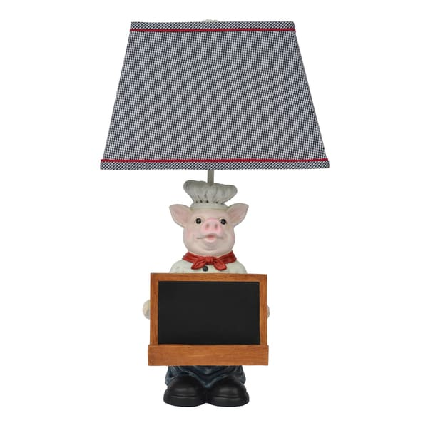 Chef Oink Table Lamp with Shelf for Tablet