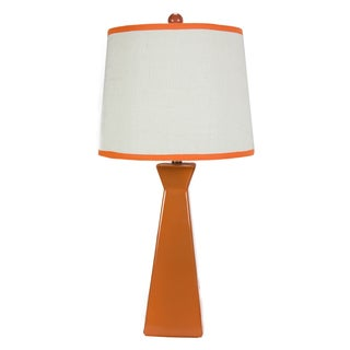 Orange Ceramic Burlap-shade Table Lamp
