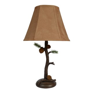 Empire Tree Branch Base/ Faux Suede Table Lamp
