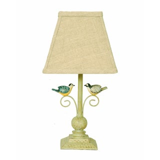 Somette Lovebird 12-inch Beige Linen Shade Accent Lamp