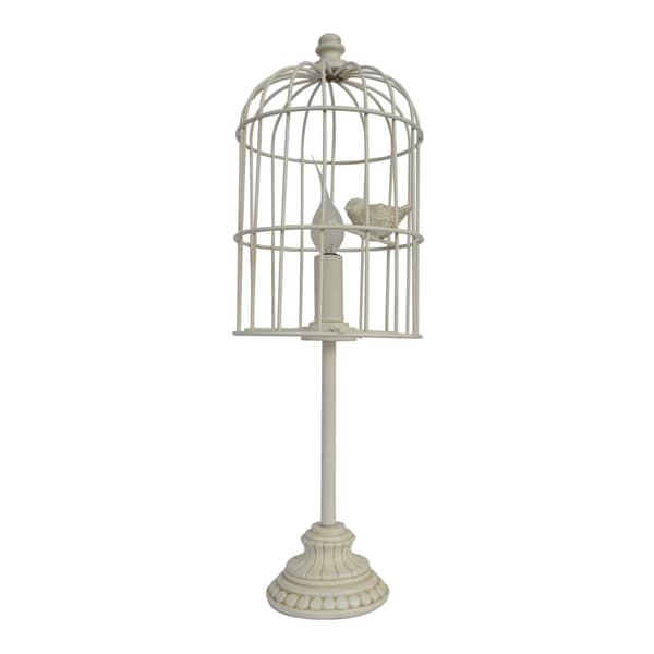 Somette Cream Metal Bird Cage 1-light Table Lamp