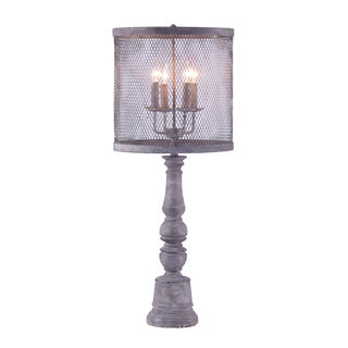 Industrial Chic Chandelier Table Lamp with a Metal Mesh Shade