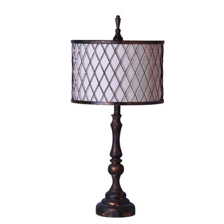 chic table lamp bronze finish with metal mesh shade and fabric liner. Black Bedroom Furniture Sets. Home Design Ideas