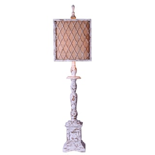 10-inch Distressed White Mesh Square Burlap Table Lamp