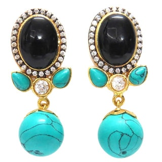 Brass Turquoise Drop Cocktail Earrings