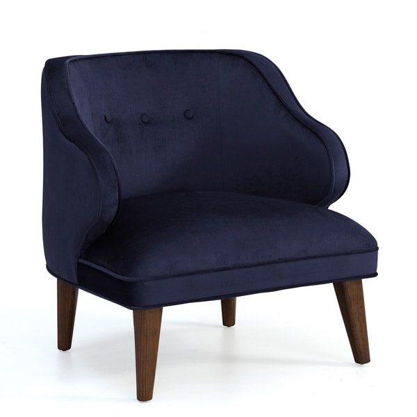 Retro Navy Curved Arm Accent Chair